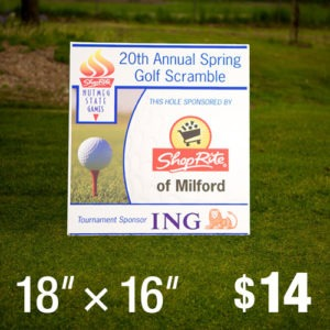 "Golf Tournament Tee Sign Hole Sponsor 18"" x 16"""