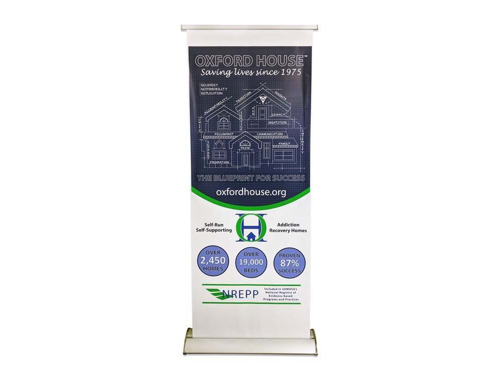 Retractable banner stand.